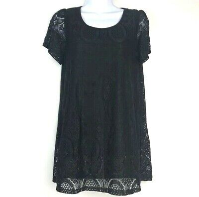 Moa Usa Womens shirt Black Floral Lace Short Sleeve Crewneck Blouse Shirt Small