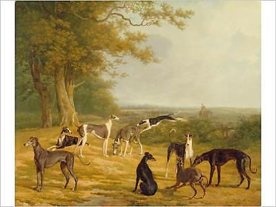 "16""x12"" (41x30cm) Print Nine Greyhounds in a Landscape (oil on ca..."