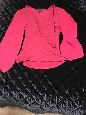 NWOT The Limited Sz L Womens BLOUSE Sheer Long BELL Sleeve CRISS CROSS Top
