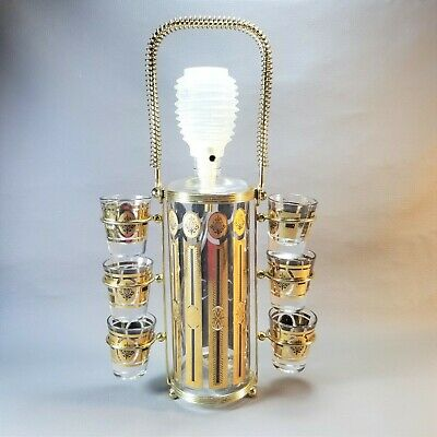 Vintage Glenshaw Glass Co. Liquor Pump Decanter w/ 6 Shot Glasses and Caddy Gold