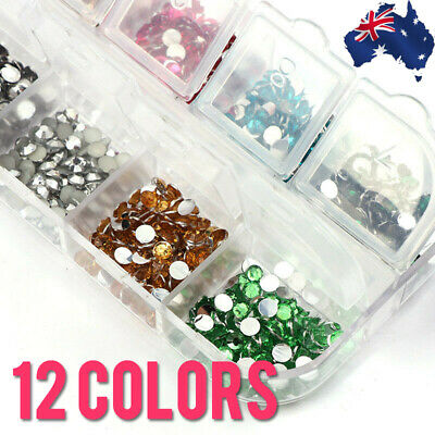 12 Colors 3mm Rhinestones with Storage Box Flatback Nail Art Gems Decal Toe 3087