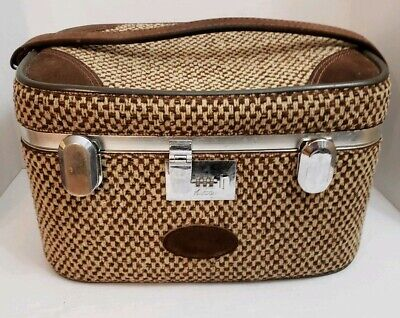 Vintage VENTURA Luggage Brown Train case tan tweed suitcase travel bag
