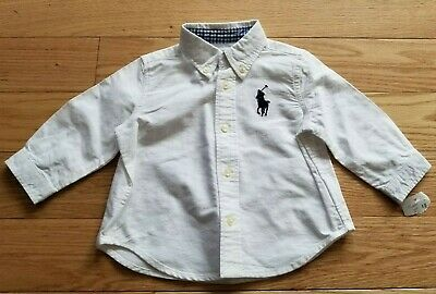 Baby Boy RALPH LAUREN White Cotton Button Down Collar Dress Shirt 6 Mos NWT