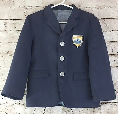 Vintage Toddler Boys Blue Blazer Jacket 2T - 3T College Bound Patch