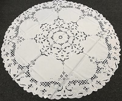 "108x108"" Round White Fabric Embroidery Tablecloth Napkins Wedding Bridal Events"