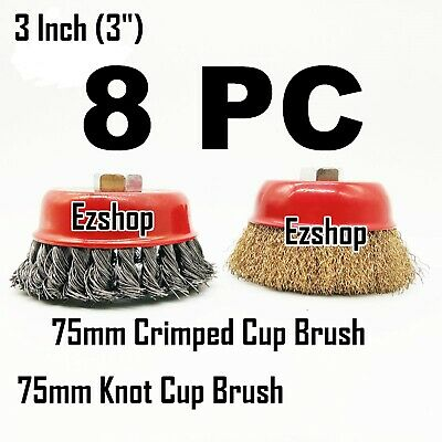 "8 Wire Cup Brush 3"" (75mm) for 4-1/2"" (115mm) Angle Grinder Twist Knot Crimped"