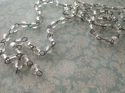 Vintage Italian Clear MaCaRoni Beaded ChaNdeLieR Chain Aged Dark Patina links