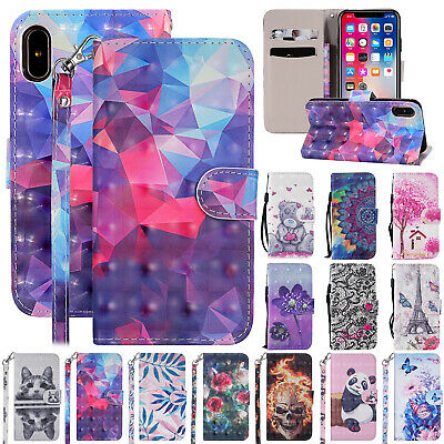 For iPhone 6s Plus 7 8 XS Max XR X Case Magnetic Flip Leather Strap Wallet Cover