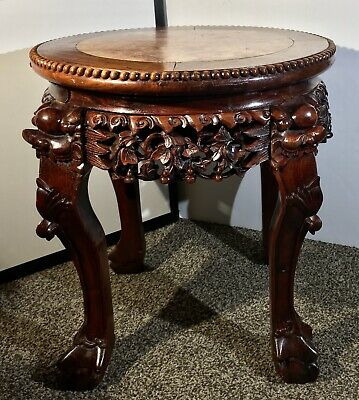 A 19th c. Antique Chinese Carved Hongmu Wood Marble Top Round Table