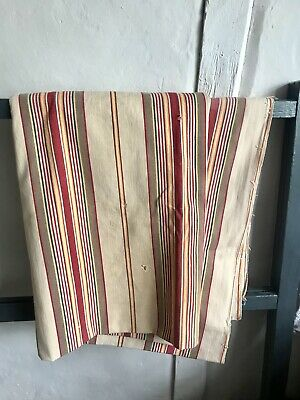Antique French Ticking Fabric Vintage Red Mattress Panel Traditional Furnishings