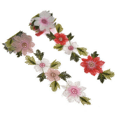 Flower Leaves Lace Trim Ribbon Wedding Applique Embroidered Sewing Craft 1 Yard