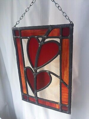 Bespoke Handmade Stained Glass panel 21cm x 31cm small crack in side glass panel