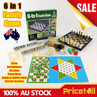 6 in 1 Family Board Game Kid Toy Chess Snakes & Ladders Memory Travel Party Game
