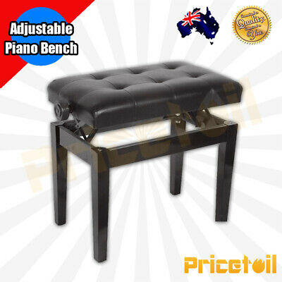OZ New Luxury Adjustable Piano Keyboard Bench Stool PU Leather Seat Black Chair