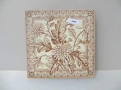 Vintage Ceramic Tile Vintage Floral Flowers Leaf Old Antique Art Nouveau