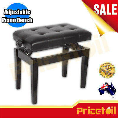 New AU Luxury Adjustable Piano Keyboard Bench Stool PU Leather Seat Black Chair