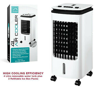 Air Cooler Fan Portable 180° Oscillating, Ice Box 4L - 3 Speed with Dust Filter