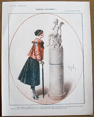 GERBAULT 1916 Vintage La Vie Parisienne Print CHIC GIRL TALKS TO CUPID STATUE