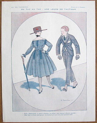 TOURAINE 1916 Vintage French La Vie Parisienne Print WWI CHIC GIRL SHAMES MAN