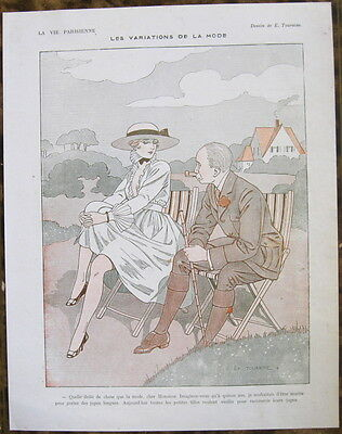TOURAINE 1916 Vie Parisienne Print WW1 COUPLE GARDEN DECKCHAIR MAN SMOKING PIPE