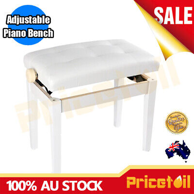 New AU Luxury Adjustable White Piano Keyboard Bench Stool PU Leather Seat Chair