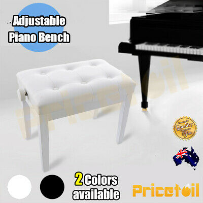 White / Black Luxury Adjustable Piano Keyboard Bench Stool PU Leather Seat Chair