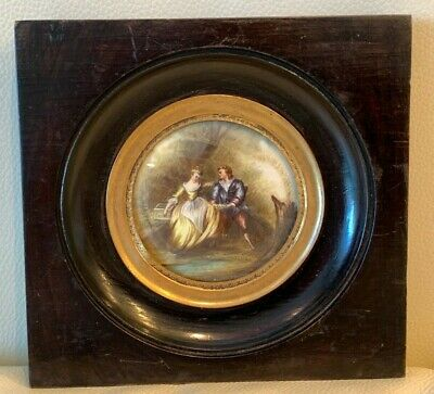 Antique 1800's French Miniature Painting Framed and Signed by Artist