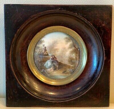 Antique 1800's French Miniature Painting Signed Boucher