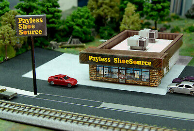 N Scale 80's Payless Shoesource Shoe Store DIY Cardstock Building Kit
