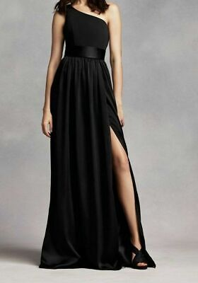 b43292405353 White By Vera Wang Ebony One Shoulder Gown Sash Size 22 NWT Bridesmaids