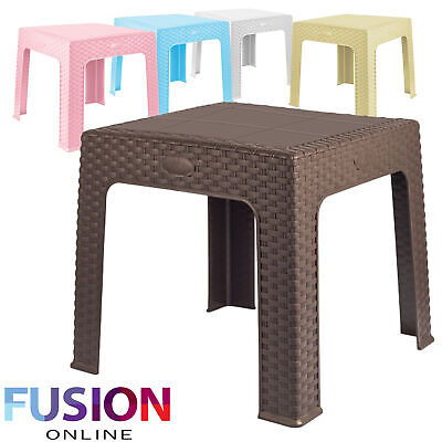 Rattan Style Plastic Small Table Outdoor Picnic Party Garden Bbq Kids Activity