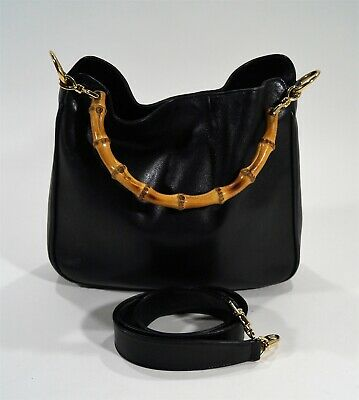 4ecfb4edd9c Authentic Vintage Gucci Black Leather Bamboo Handle Hand Hobo Shoulder Bag