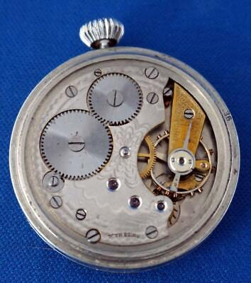 Antique Travel Clock Swiss Movement Silver Case