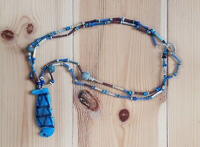 Ancient Egyptian Faience Bead Necklace with Quebehsenuef Pendant Amulet