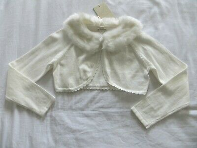 BNWT Girls Monsoon Ivory Firenze Faux Fur Collar Crop Cardigan Bolero Age 7-8 yr