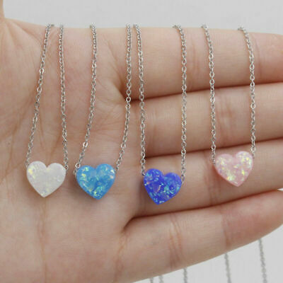 Gemstone Heart Silver Love Pendant Necklace 925 Plated Jewelry Opal pendant Gift