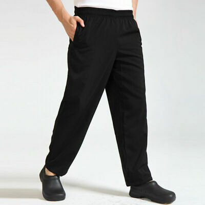 All-black Working Clothes Durable Chef Pants Waiter Trousers for Canteen Kitchen