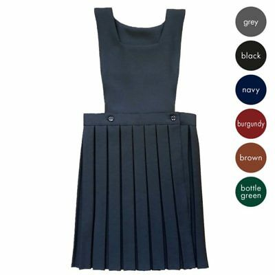 Girls Kids School Uniform Pleated Plain Bib Pinafore Dress All Sizes 2-12 Years