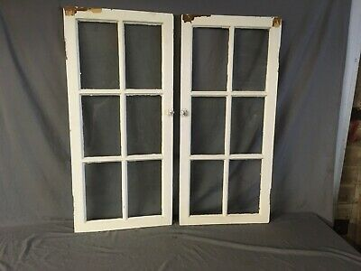 Pair Antique 6 Lite Casement Cabinet Cupboard Window Door Vtg 19X43 168-19L