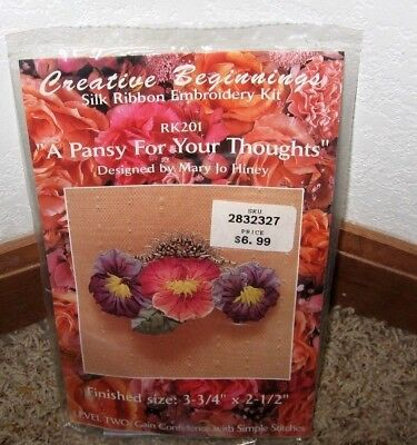 "Creative Beginnings~Silk Ribbon~""A Pansy For Your Thoughts"" Kit #Rk201~Nip"