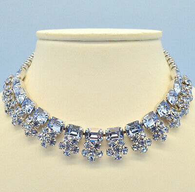 Vintage Necklace 1950s Pale Blue Crystal Flowers Silvertone Bridal Jewellery