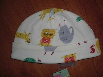 Bnwt Joules Reversible Beanie Baby Hat Cream Zoo Age 9-12 Months.rrp £6.95