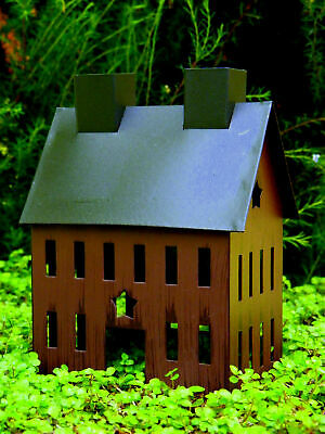 """Primitive Burgundy Saltbox Tin House New Country Metal Rustic Star Stress 4""""X2"""