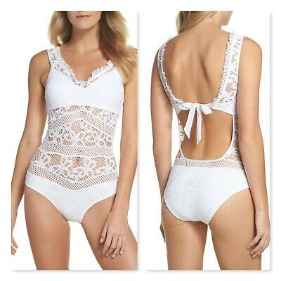 04c9a861444 Becca Captured Crochet One-Piece Swimsuit White Womens Size Large NWT