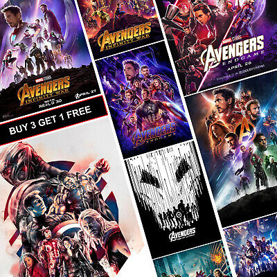 Avengers Marvel MCU Movie Posters A3 Prints Endgame Age of Ultron Infinity War