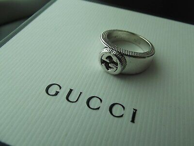 2d2512cc4 AUTH GUCCI BEAUTIFUL Double G Cut Out *Heavy* Sterling Silver 925 ...