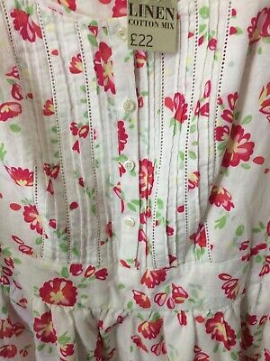 TU Size 12 Linen Blend Sleeveless Floral Dress Lined With Pin tuck Detail