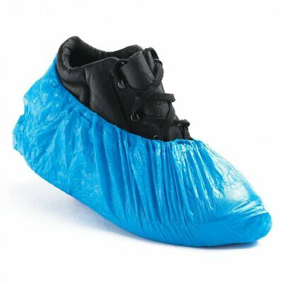 Disposable Shoe Cover Overshoes Blue Anti Slip Plastic Cleaning Boot Safety