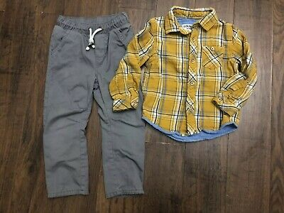Boys 4t Genuine Kids Mustard Plaid Shirt, 3t Cat & Jack Drawstring Pants Outfit