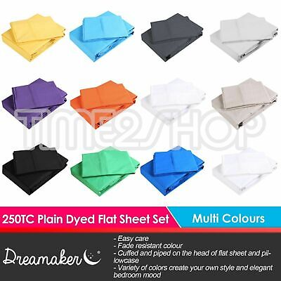 Dreamaker 250TC Plain Dyed Flat & Fitted Sheet & Pillowcase Set Colour Bed Size